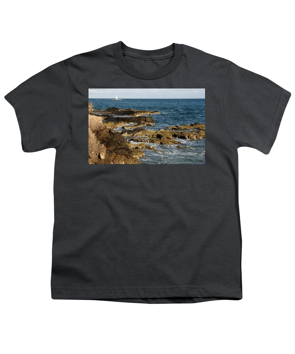 Sailboat Youth T-Shirt featuring the photograph Black Rock Point And Sailboat by Jean Macaluso