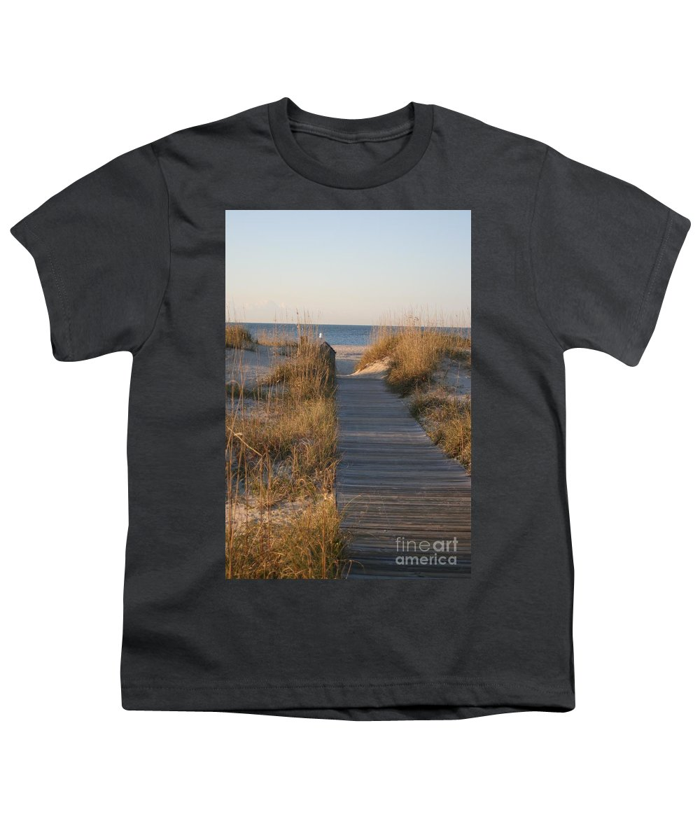 Boardwalk Youth T-Shirt featuring the photograph Boardwalk To The Beach by Nadine Rippelmeyer