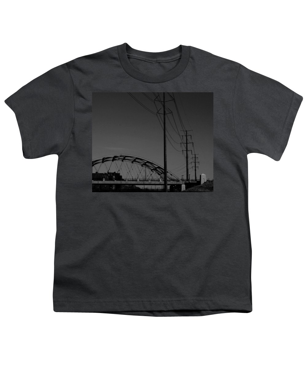 Metal Structures Youth T-Shirt featuring the photograph Bridge And Power Poles At Dusk by Angus Hooper Iii