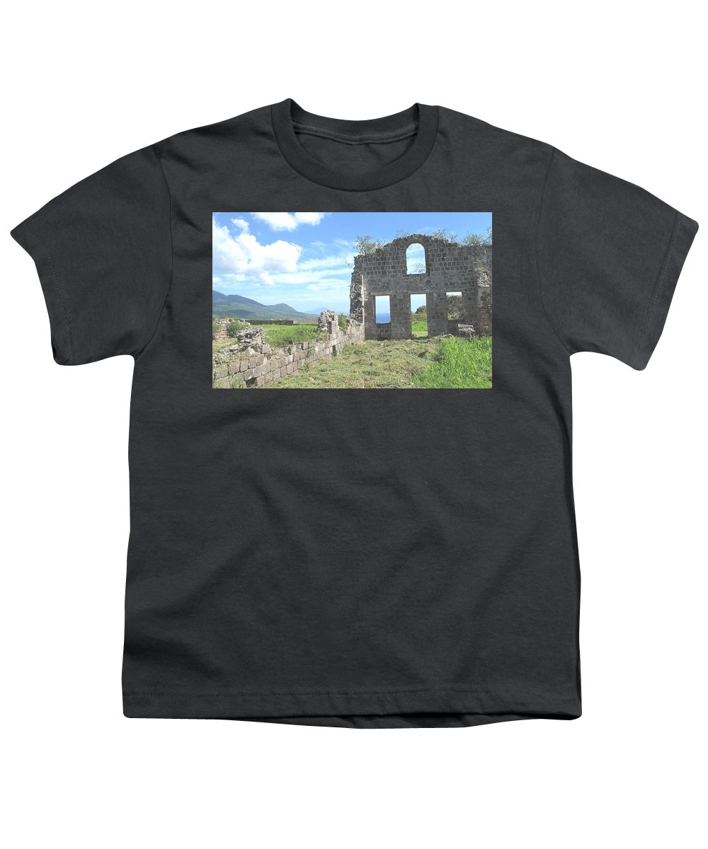 St Kitts Youth T-Shirt featuring the photograph Brimstone Ruins by Ian MacDonald