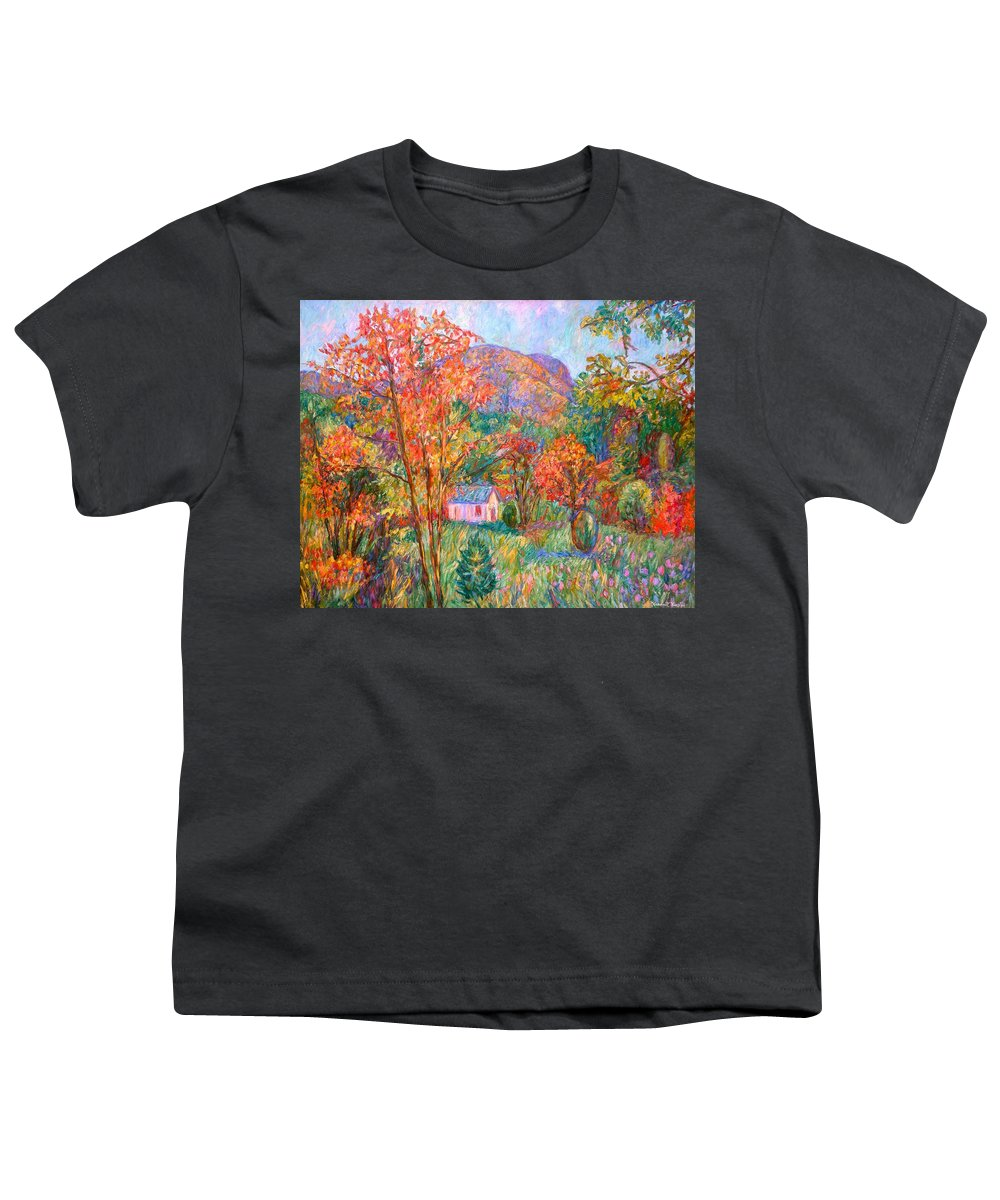 Landscape Youth T-Shirt featuring the painting Buffalo Mountain In Fall by Kendall Kessler