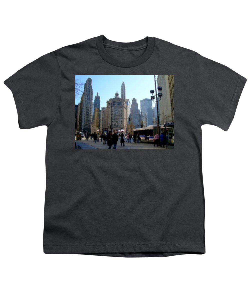 Archtecture Youth T-Shirt featuring the digital art Bus On Miracle Mile by Anita Burgermeister