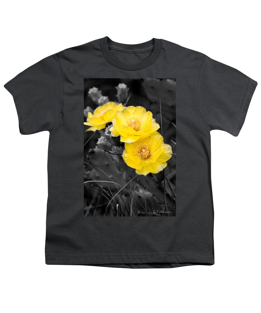 Cactus Youth T-Shirt featuring the photograph Cactus Blossom by Christopher Holmes