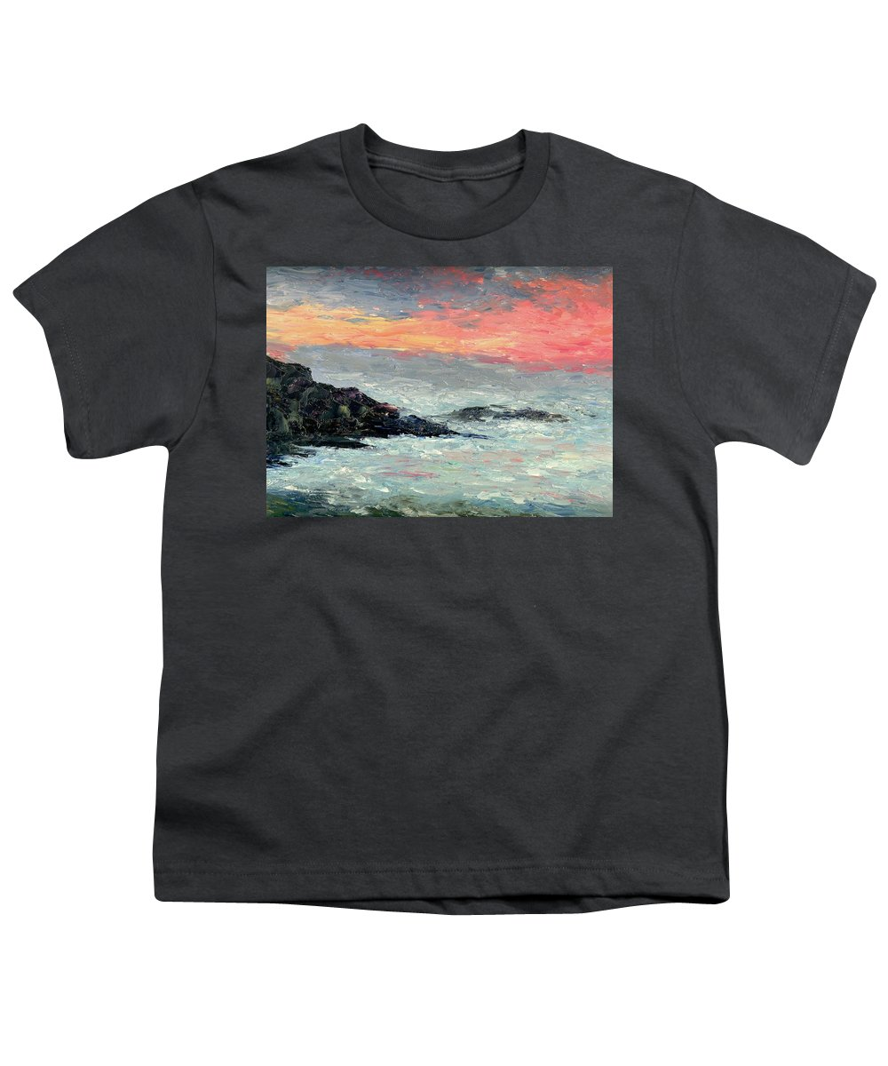 Seascape Youth T-Shirt featuring the painting California Coast by Gail Kirtz