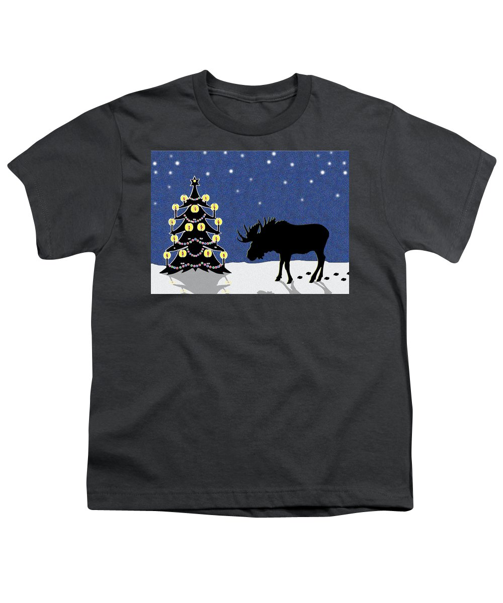 Moose Youth T-Shirt featuring the digital art Candlelit Christmas Tree And Moose In The Snow by Nancy Mueller