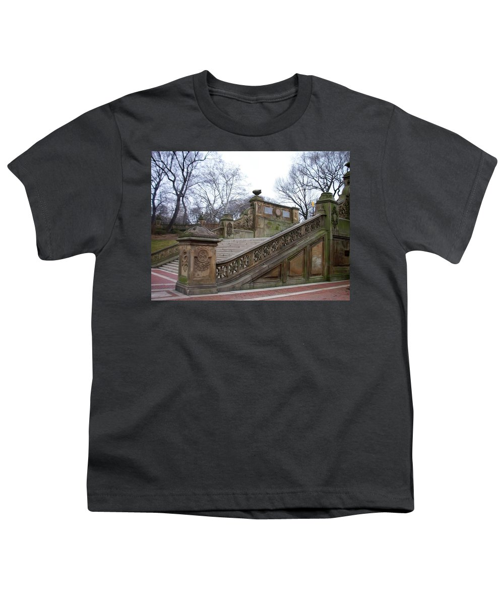 Central Park Youth T-Shirt featuring the photograph Central Park Bethesda 1 by Anita Burgermeister