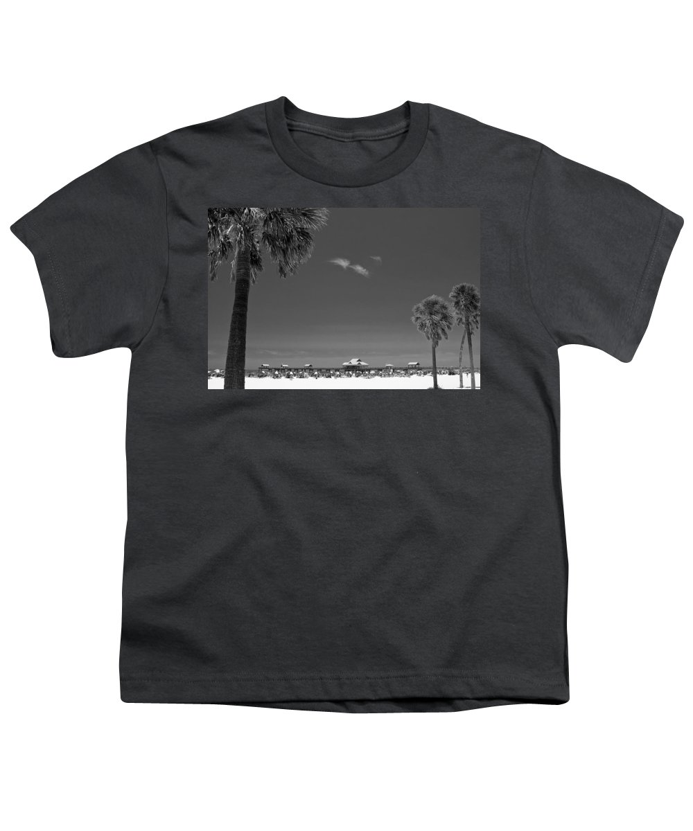 3scape Youth T-Shirt featuring the photograph Clearwater Beach Bw by Adam Romanowicz