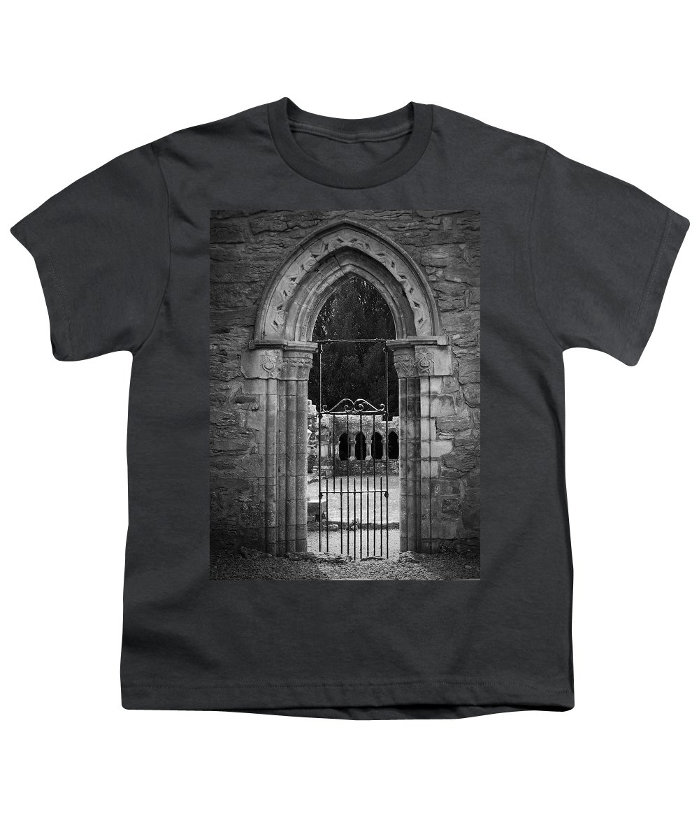 Irish Youth T-Shirt featuring the photograph Cloister View Cong Abbey Cong Ireland by Teresa Mucha