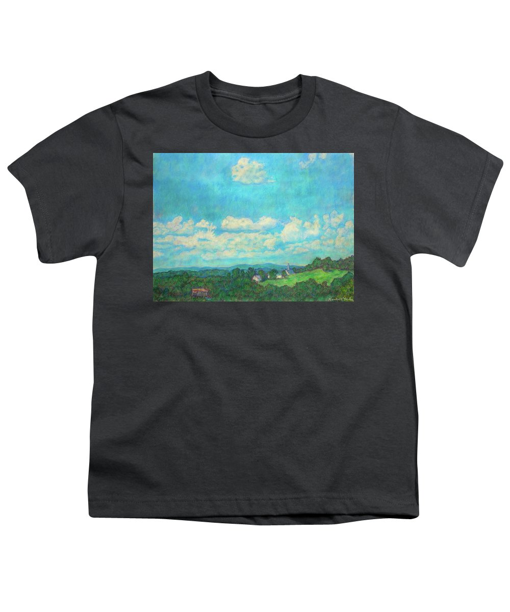 Landscape Youth T-Shirt featuring the painting Clouds Over Fairlawn by Kendall Kessler