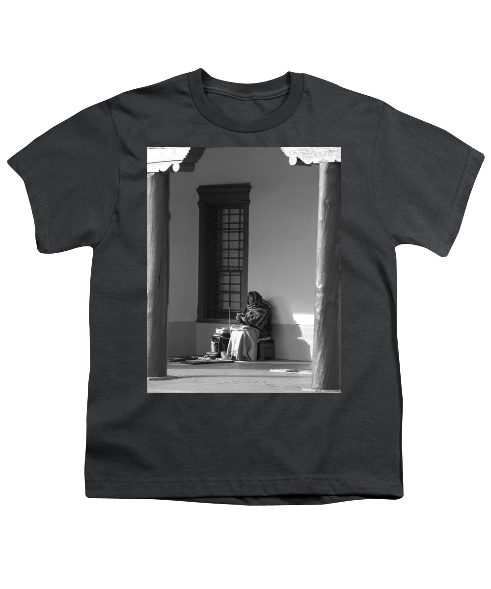 Southwestern Youth T-Shirt featuring the photograph Cold Native American Woman by Rob Hans