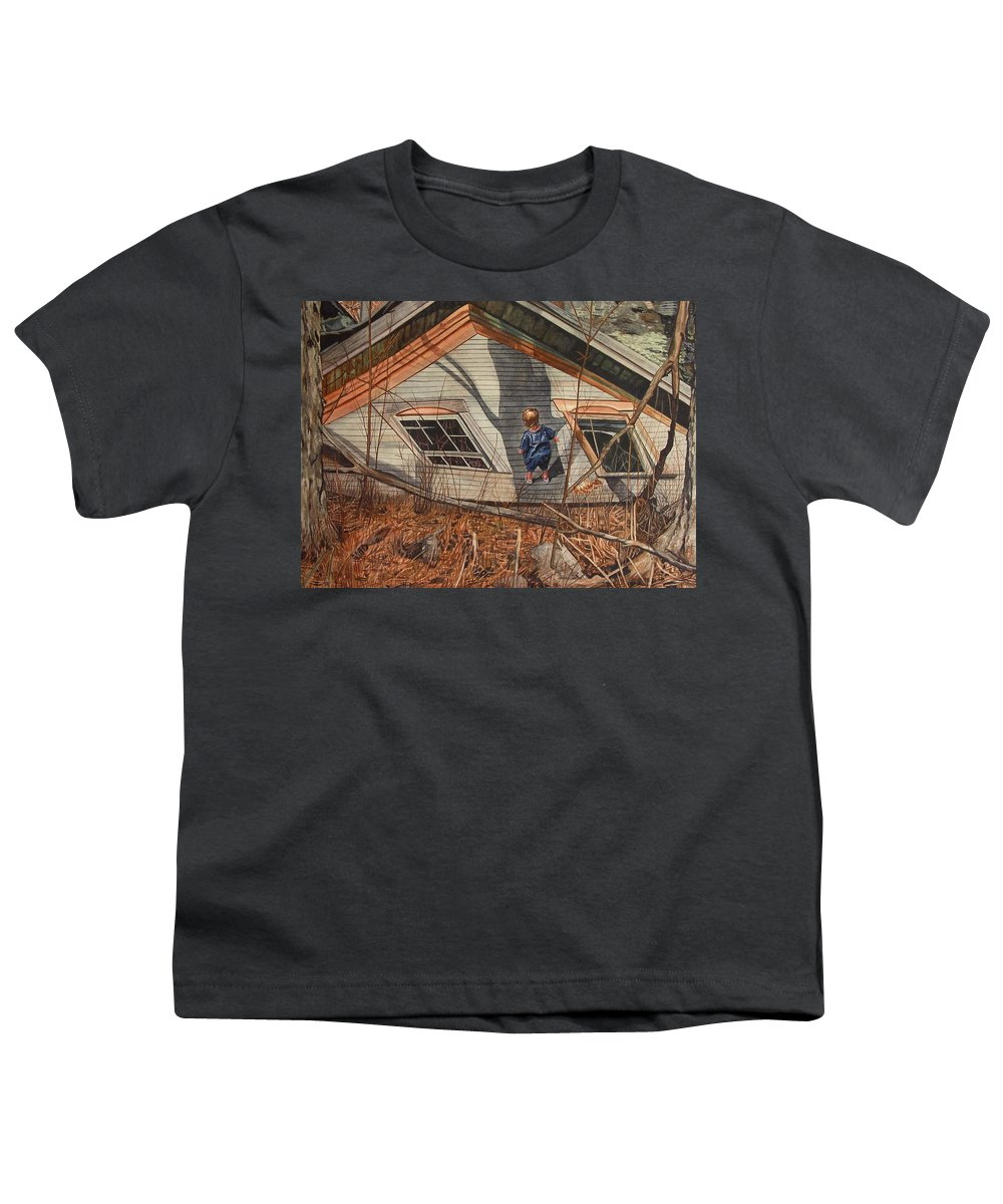 Children Youth T-Shirt featuring the painting Collapsed by Valerie Patterson