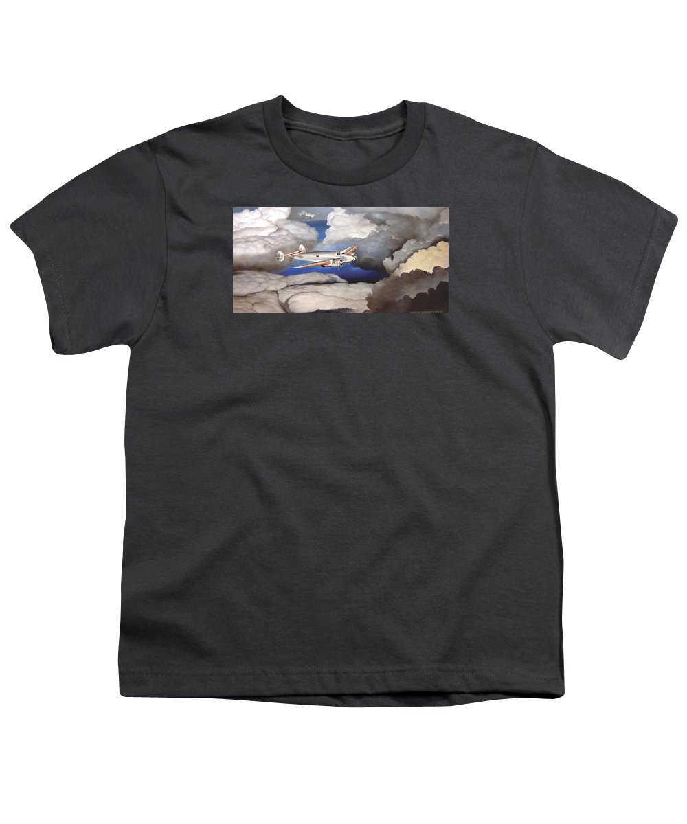 Aviation Youth T-Shirt featuring the painting Crossing Over Amelia Earharts Final Flight by Marc Stewart