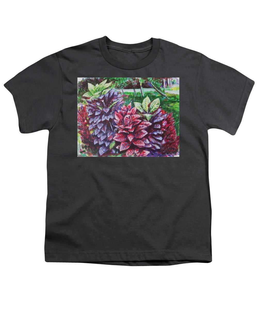Landscape Youth T-Shirt featuring the painting Crotons 1 by Usha Shantharam