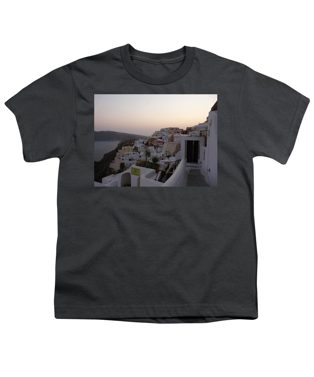 Landscape Youth T-Shirt featuring the photograph Dawn In Oia Santorini Greece by Valerie Ornstein