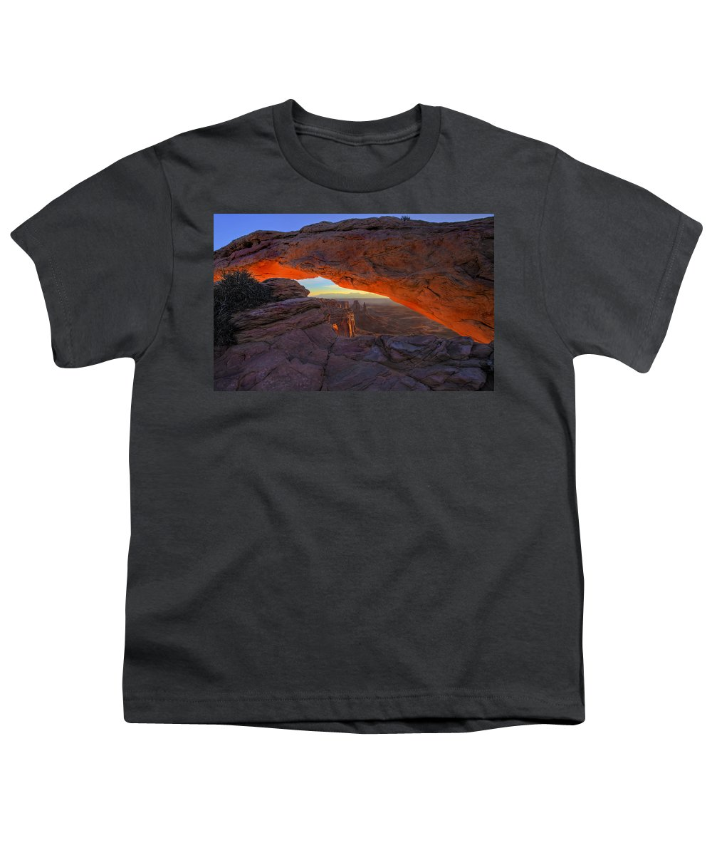 Mesa Arch Youth T-Shirt featuring the photograph Dawns Early Light by Mike Dawson