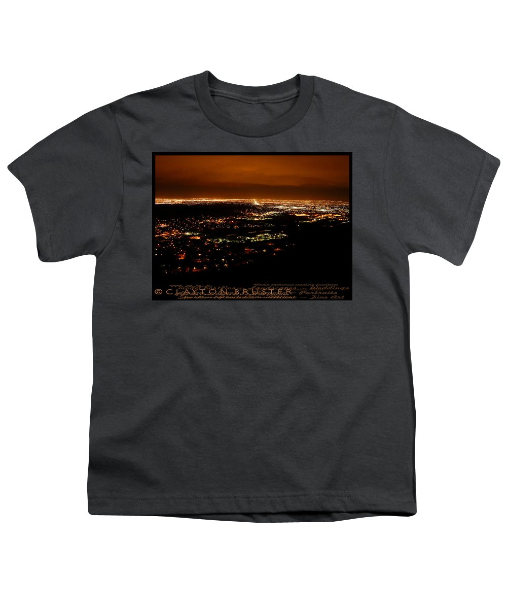 Clay Youth T-Shirt featuring the photograph Denver Area At Night From Lookout Mountain by Clayton Bruster