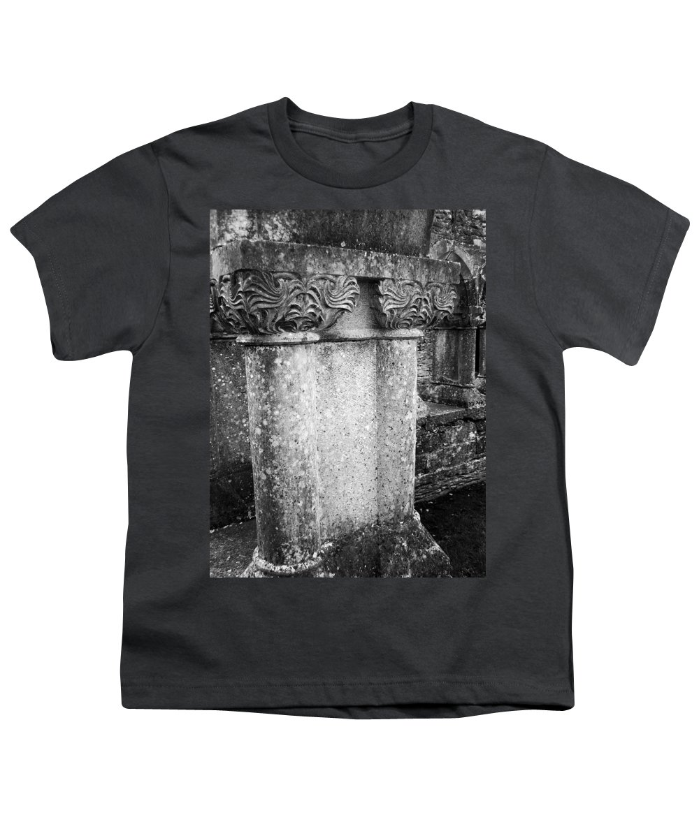 Irish Youth T-Shirt featuring the photograph Detail Of Capital Of Cloister At Cong Abbey Cong Ireland by Teresa Mucha