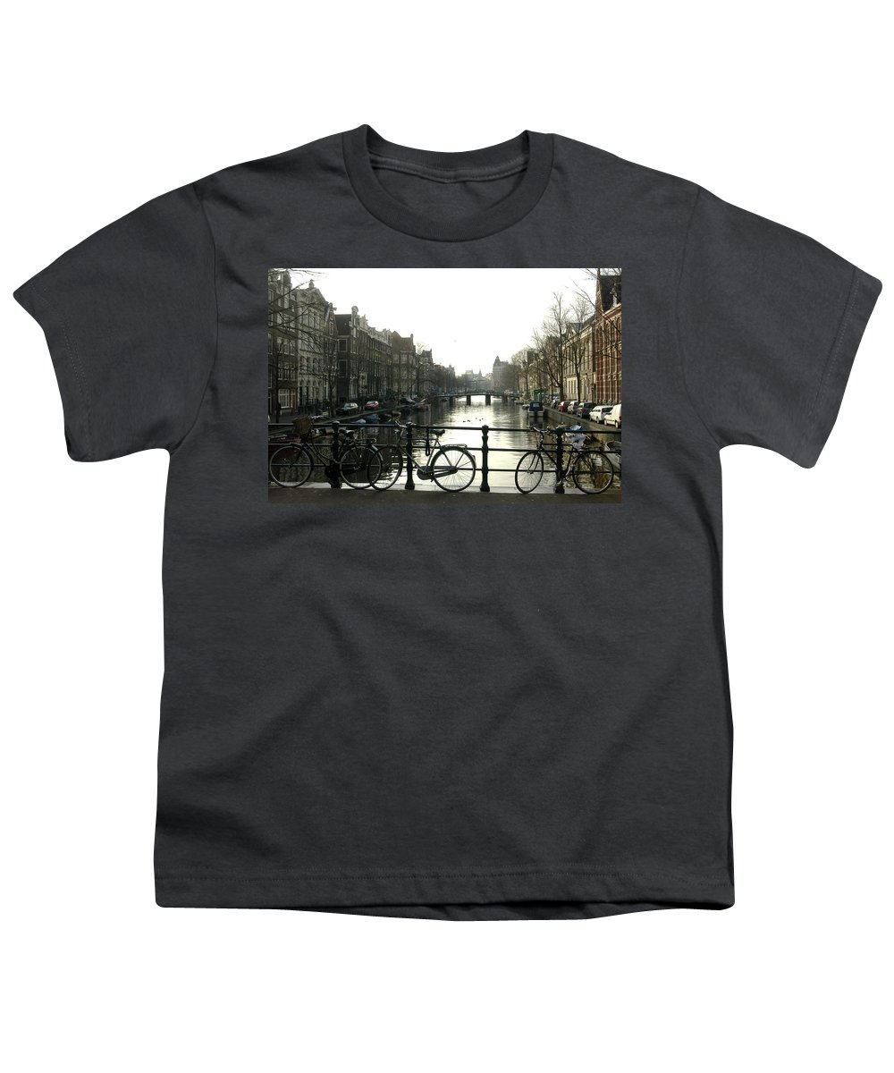 Landscape Amsterdam Red Light District Youth T-Shirt featuring the photograph Dnrh1103 by Henry Butz