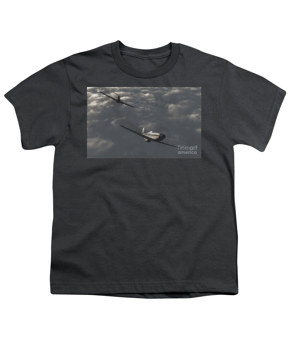 Ww2 Youth T-Shirt featuring the digital art Dog Fight by Richard Rizzo