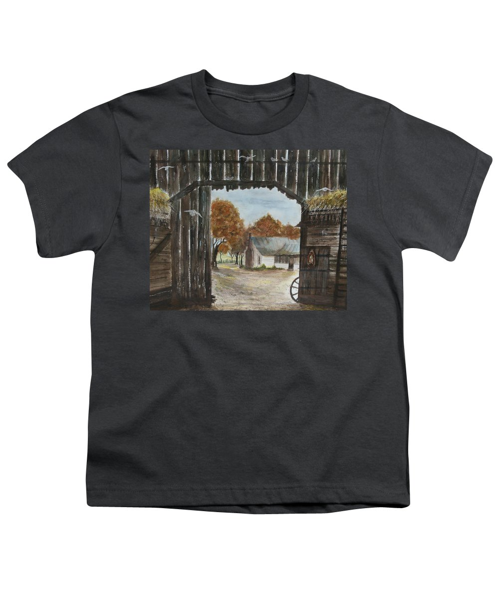 Grandpa And Grandma's Homeplace Youth T-Shirt featuring the painting Down Home by Ben Kiger