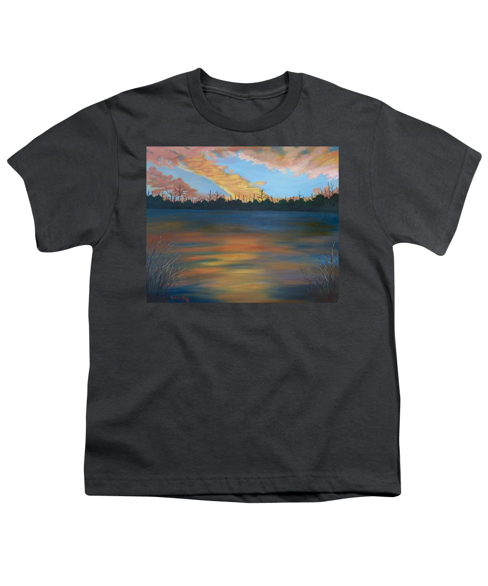 Landscape Youth T-Shirt featuring the painting Evening Peace by Ruth Housley
