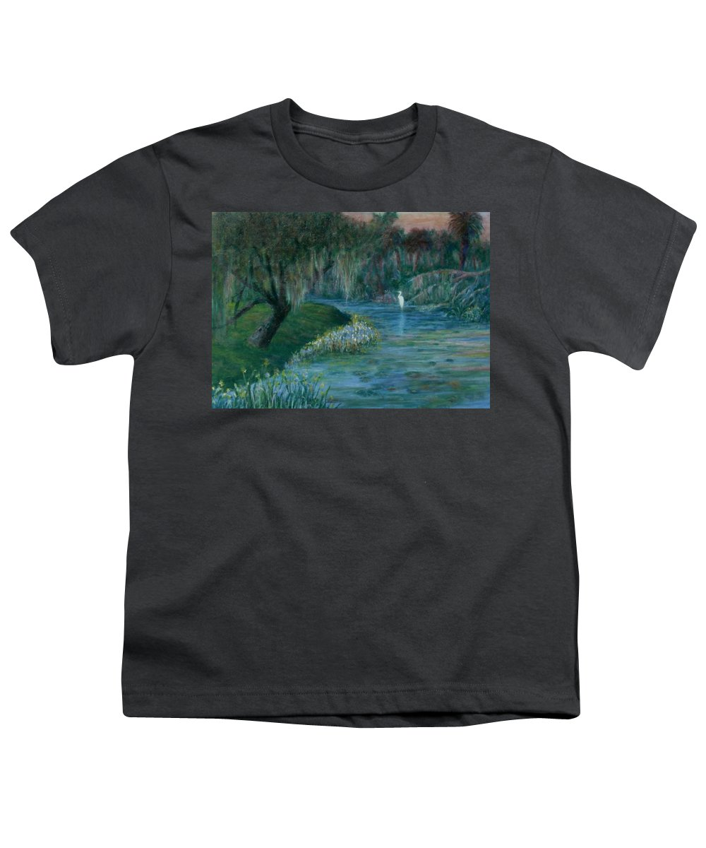 Low Country; Egrets; Lily Pads Youth T-Shirt featuring the painting Evening Shadows by Ben Kiger