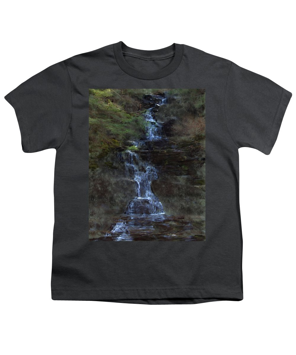 Youth T-Shirt featuring the photograph Falls At 6 Mile Creek Ithaca N.y. by David Lane
