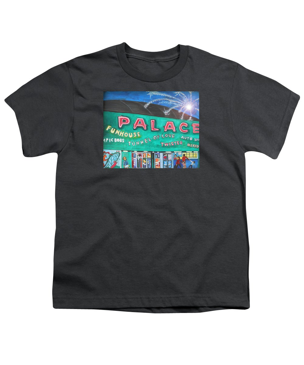Asbury Park Art Youth T-Shirt featuring the painting Fireworks At The Palace by Patricia Arroyo
