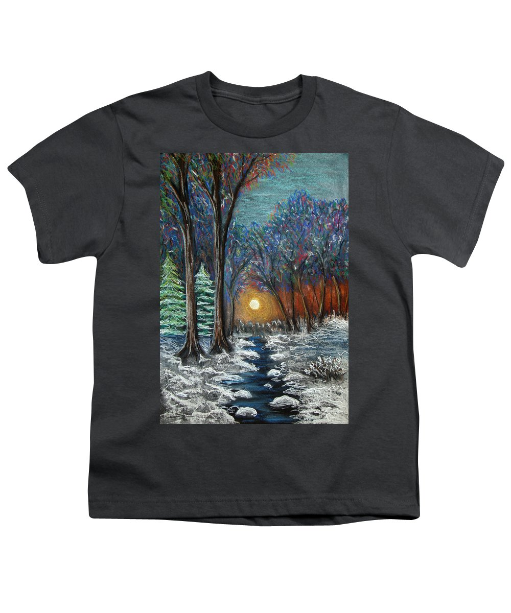 Snow Youth T-Shirt featuring the pastel First Snow by Nancy Mueller