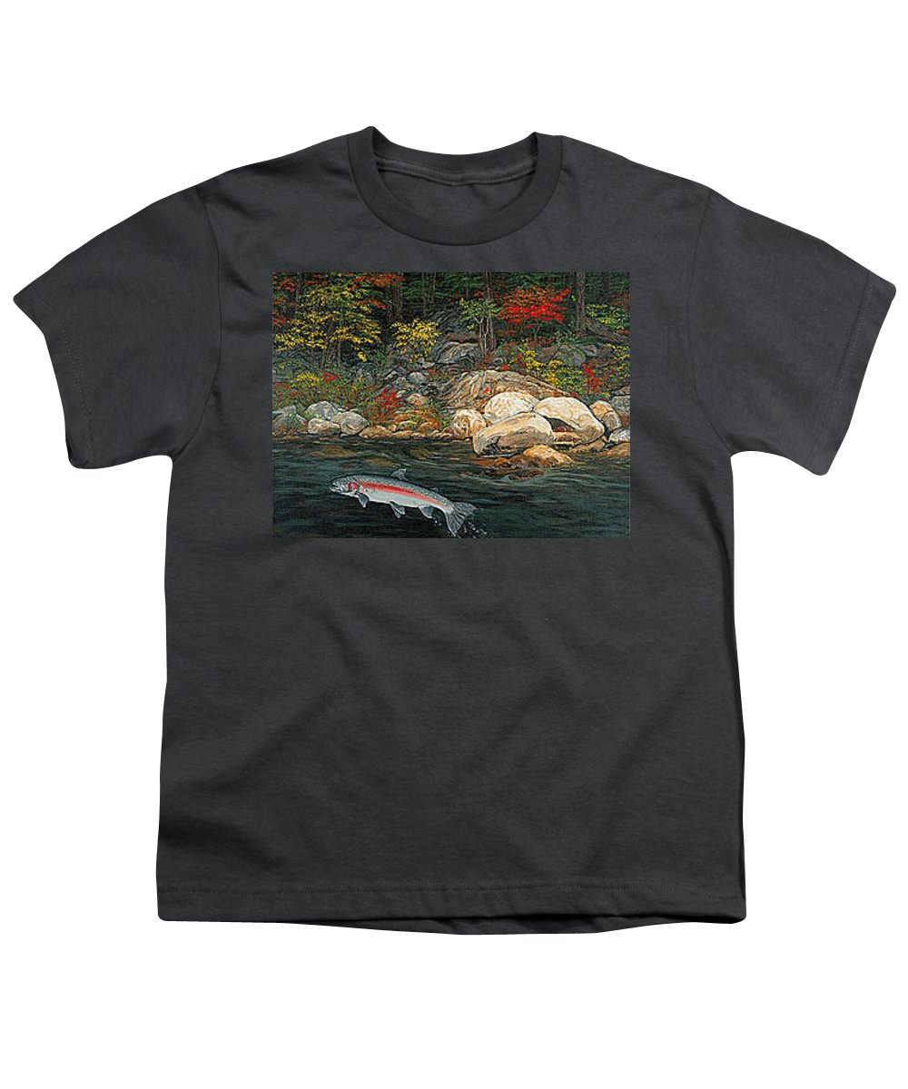 Art Youth T-Shirt featuring the painting Fish Art Jumping Silver Steelhead Trout Art Nature Artwork Giclee Wildlife Underwater Wall Art Work by Baslee Troutman