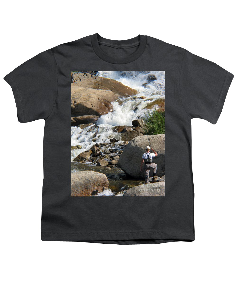 Fishing Youth T-Shirt featuring the photograph Fishing Anyone by Amanda Barcon