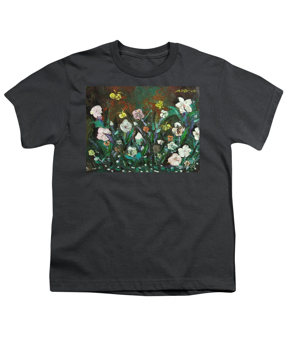 Abstract Paintings Youth T-Shirt featuring the painting Flower Garden by Seon-Jeong Kim