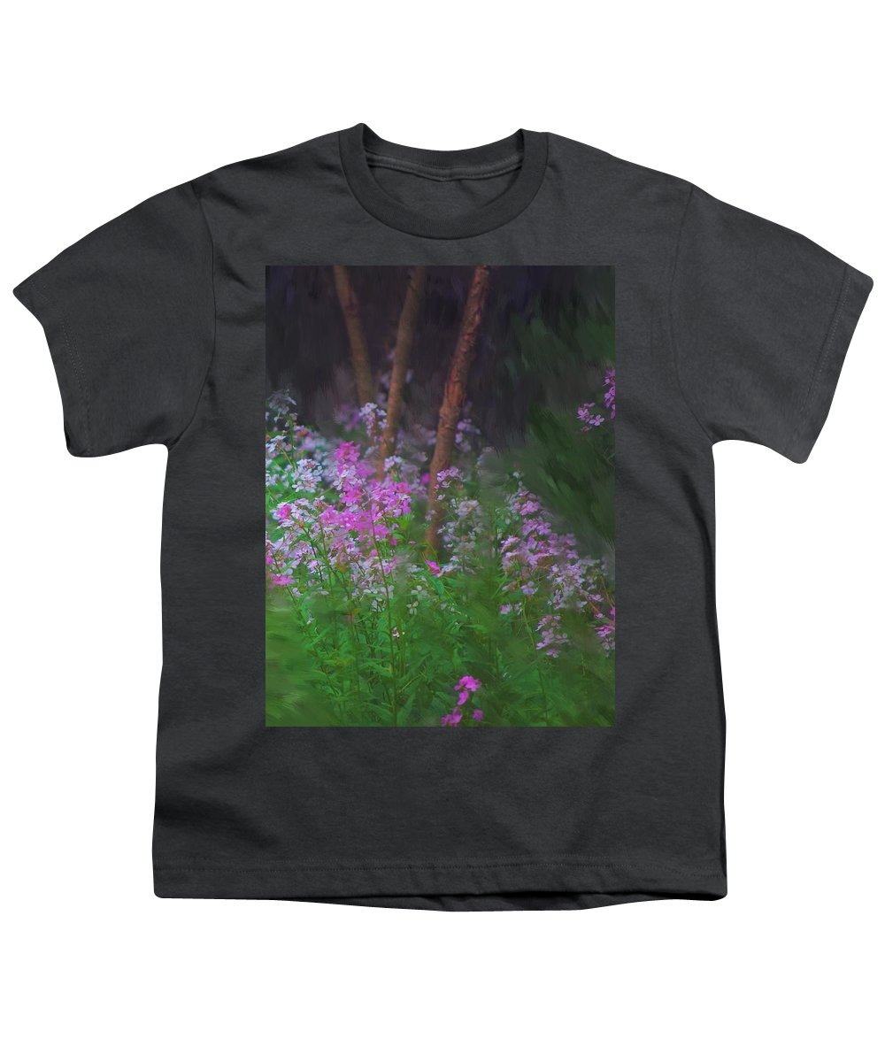Landscape Youth T-Shirt featuring the painting Flowers In The Woods by David Lane