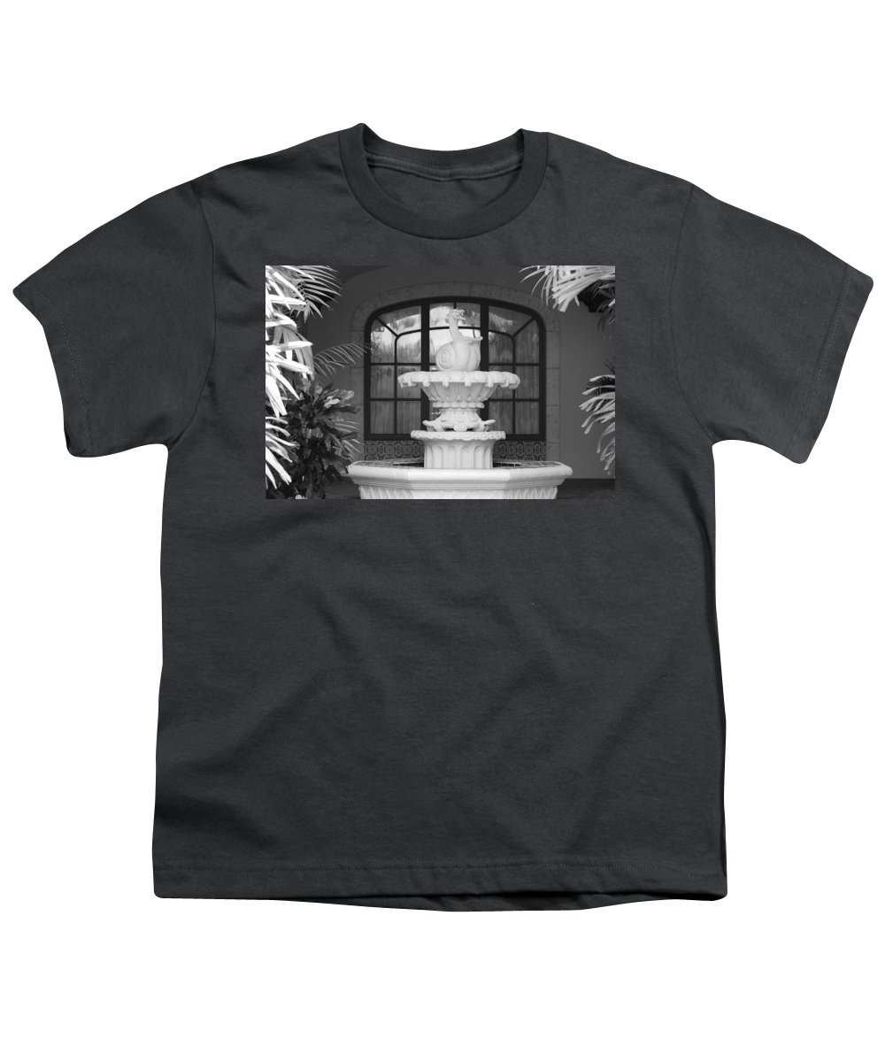 Architecture Youth T-Shirt featuring the photograph Fountian And Window by Rob Hans