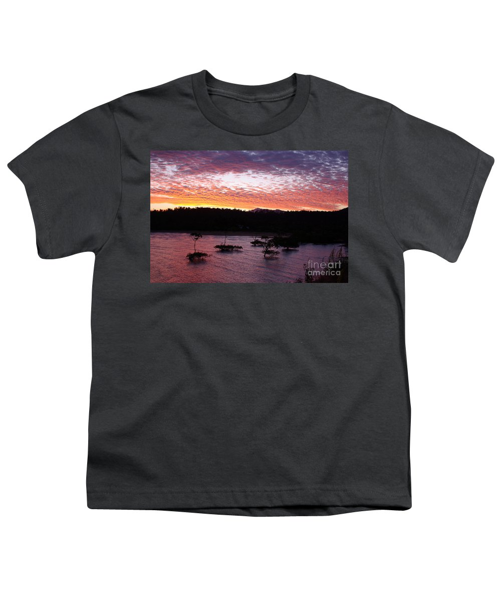 Landscape Youth T-Shirt featuring the photograph Four Elements Sunset Sequence 3 Coconuts Qld by Kerryn Madsen - Pietsch