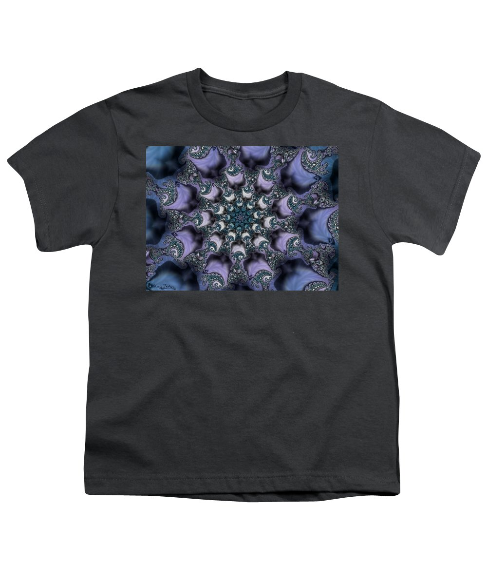 Fractal Rose Blossom Nature Life Organic Youth T-Shirt featuring the digital art Fractal 1 by Veronica Jackson