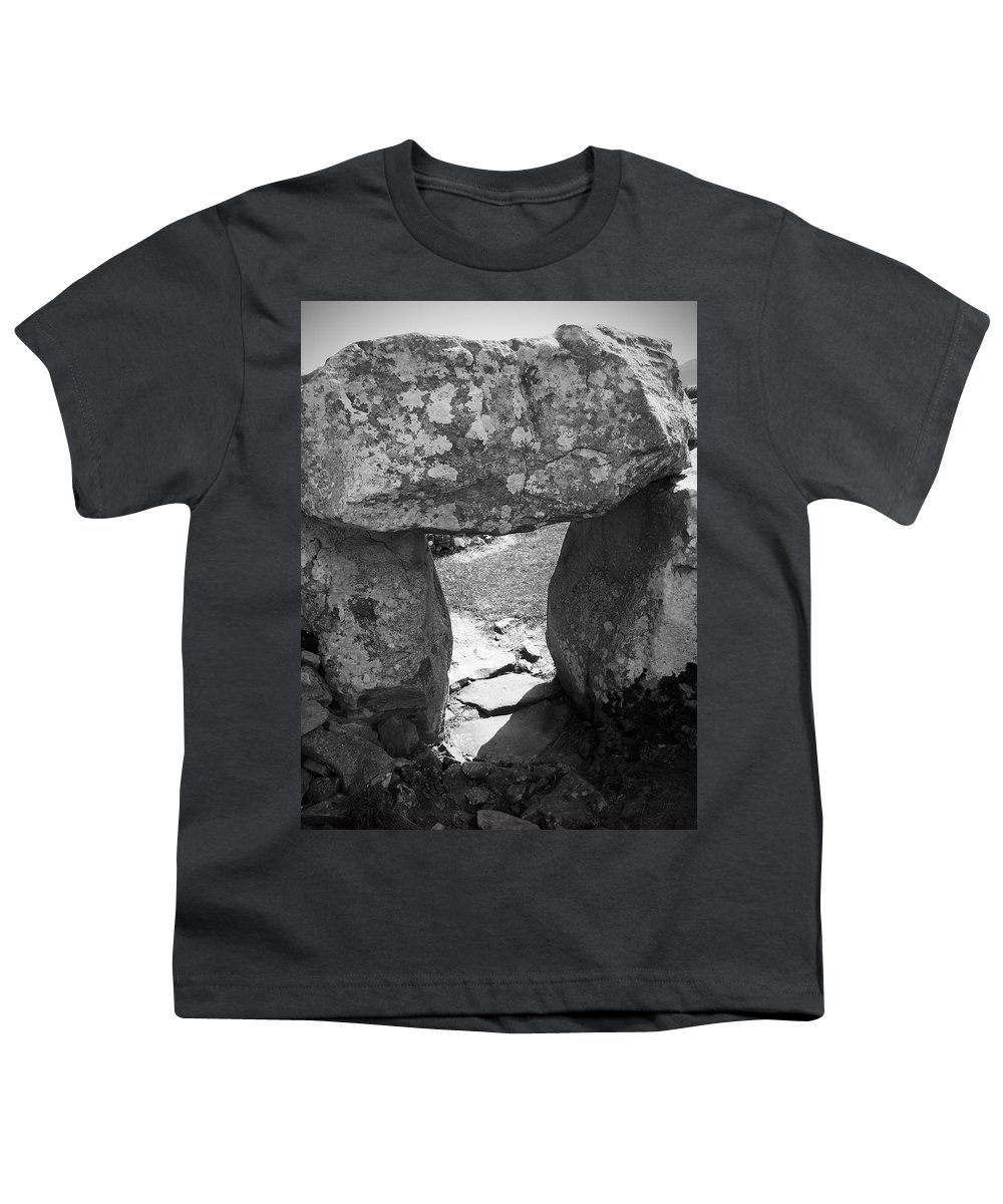 Ireland Youth T-Shirt featuring the photograph Gallery Entrance At Creevykeel Court Cairn Ireland by Teresa Mucha