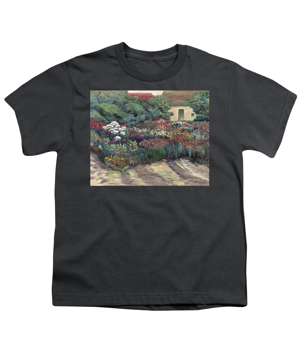 Breck Youth T-Shirt featuring the painting Garden At Giverny by Nadine Rippelmeyer