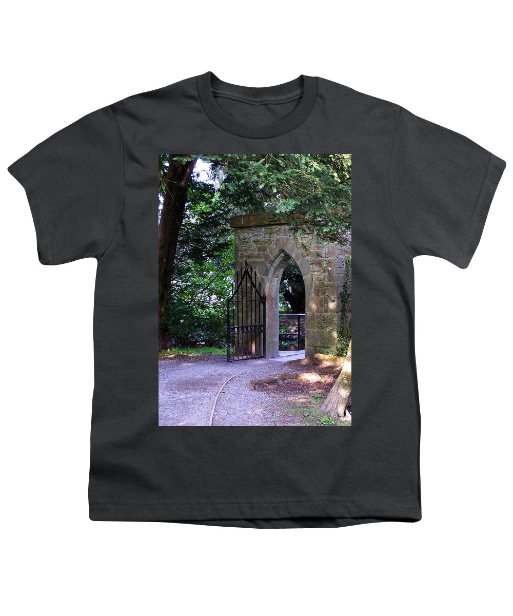 Irish Youth T-Shirt featuring the photograph Gate At Cong Abbey Cong Ireland by Teresa Mucha