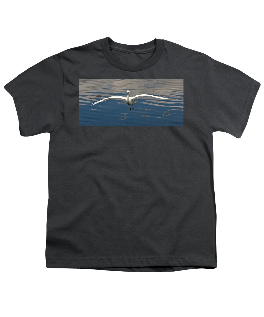 Snowy Egret Youth T-Shirt featuring the photograph Gear Down by Christopher Holmes