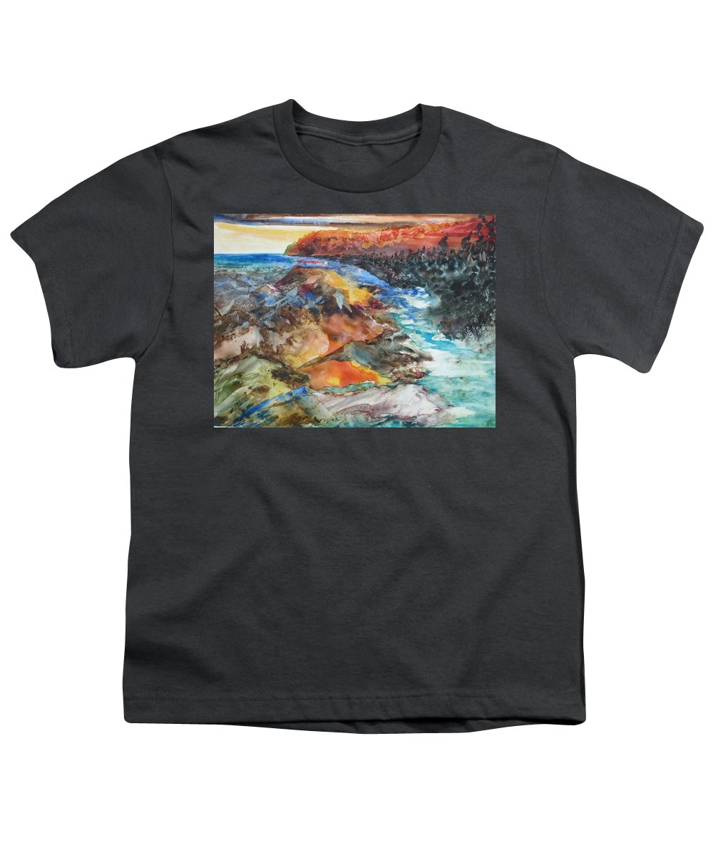 Abstract Youth T-Shirt featuring the painting Glacial Meltdown by Ruth Kamenev