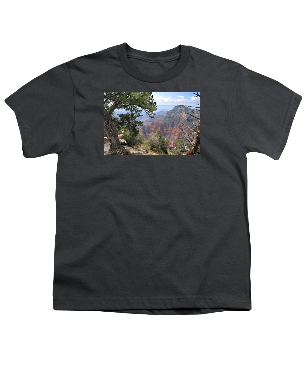 Grand Canyon Youth T-Shirt featuring the photograph Grand Canyon North Rim - Through The Trees by Victoria Oldham