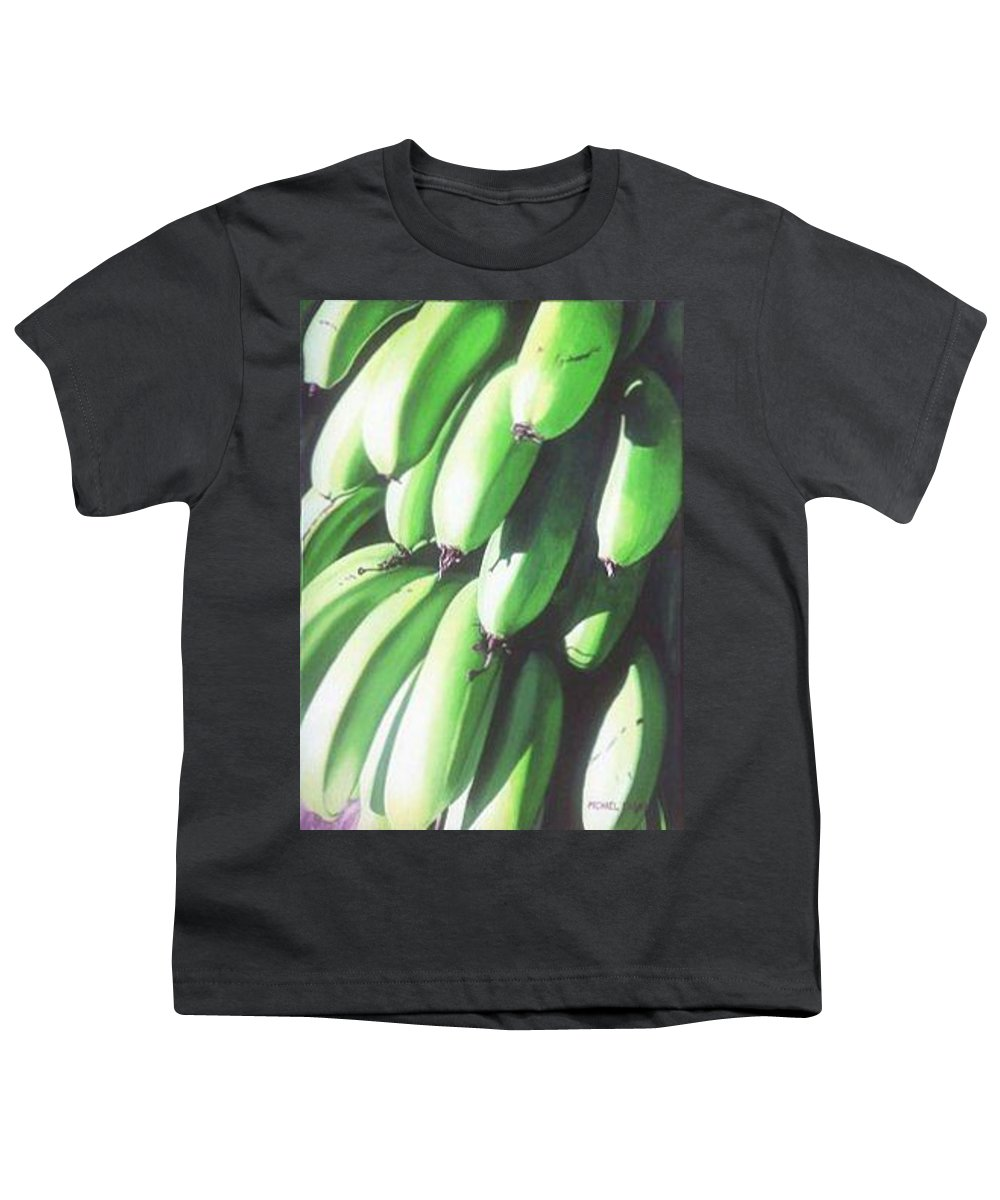 Hyperrealism Youth T-Shirt featuring the painting Green Bananas I by Michael Earney