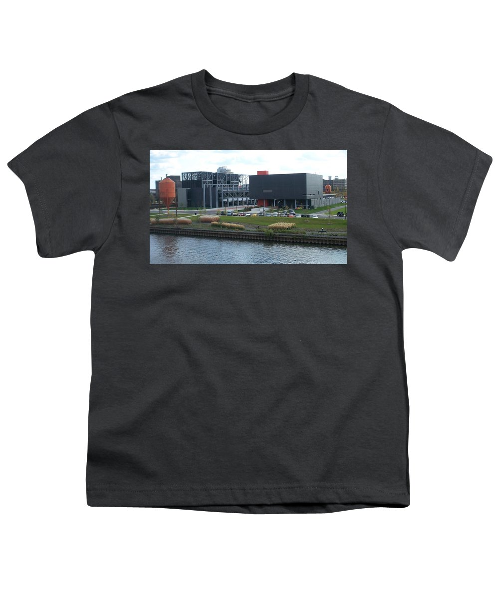 Architechture Youth T-Shirt featuring the photograph Harley Museum Milwaukee by Anita Burgermeister