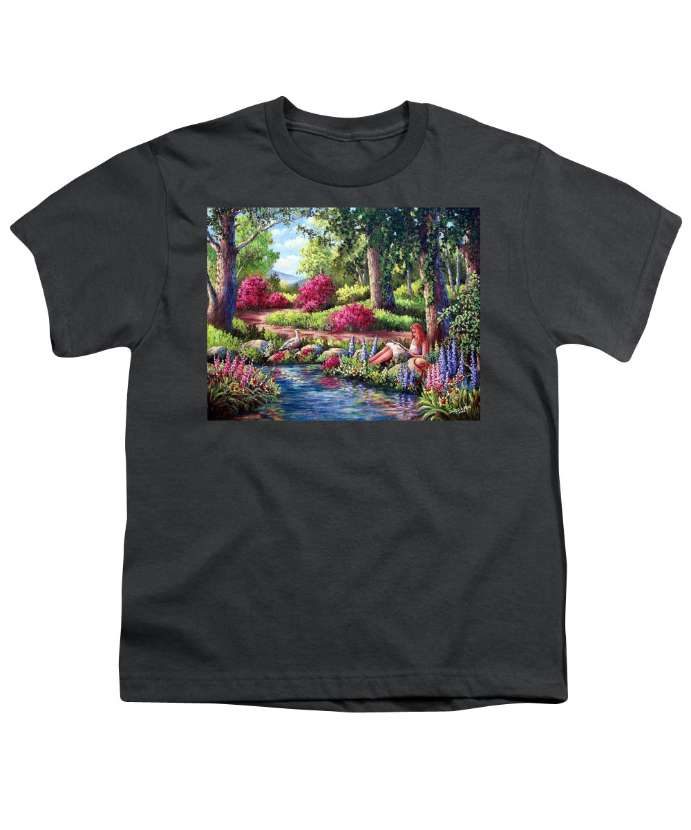 Read Youth T-Shirt featuring the painting Her Reading Hideaway by David G Paul