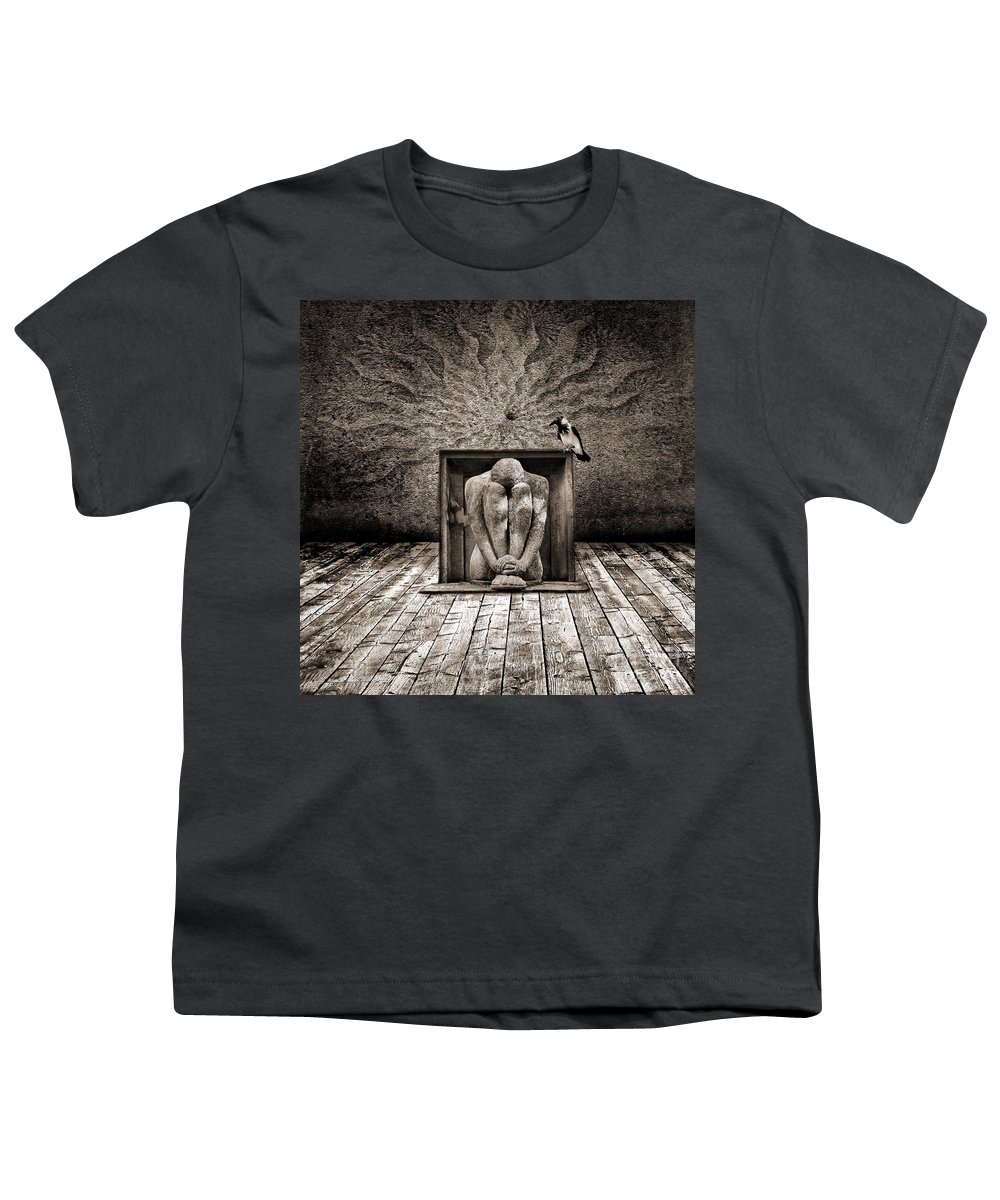 Dark Youth T-Shirt featuring the digital art Hiding by Jacky Gerritsen