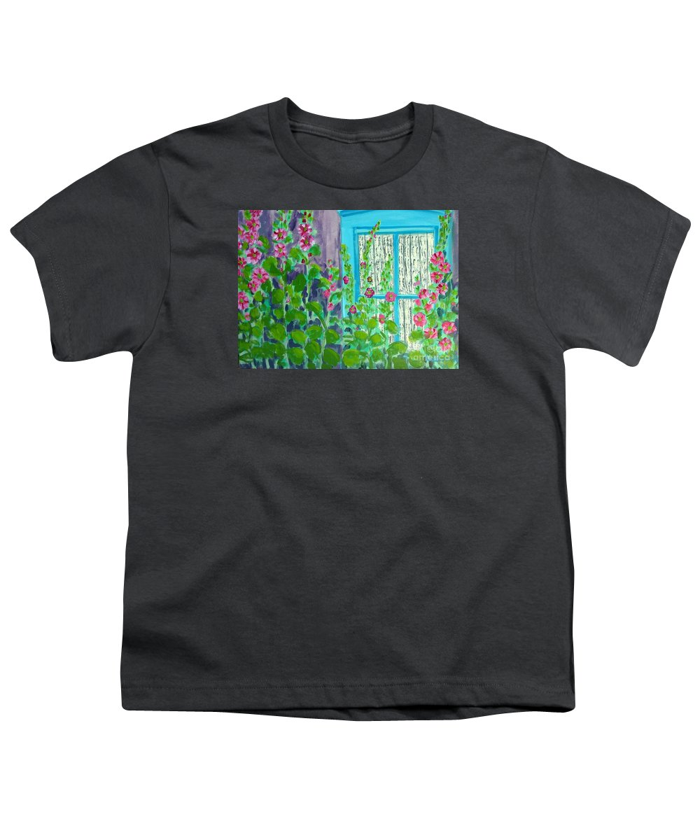 Hollyhocks Youth T-Shirt featuring the painting Hollyhock Surprise by Laurie Morgan