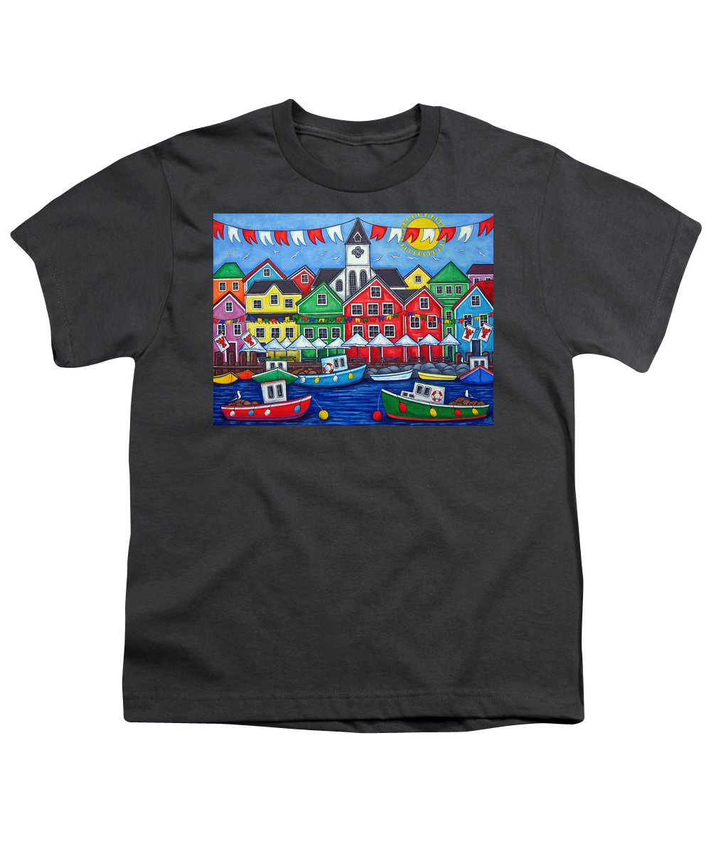 Boats Canada Colorful Docks Festival Fishing Flags Green Harbor Harbour Youth T-Shirt featuring the painting Hometown Festival by Lisa Lorenz