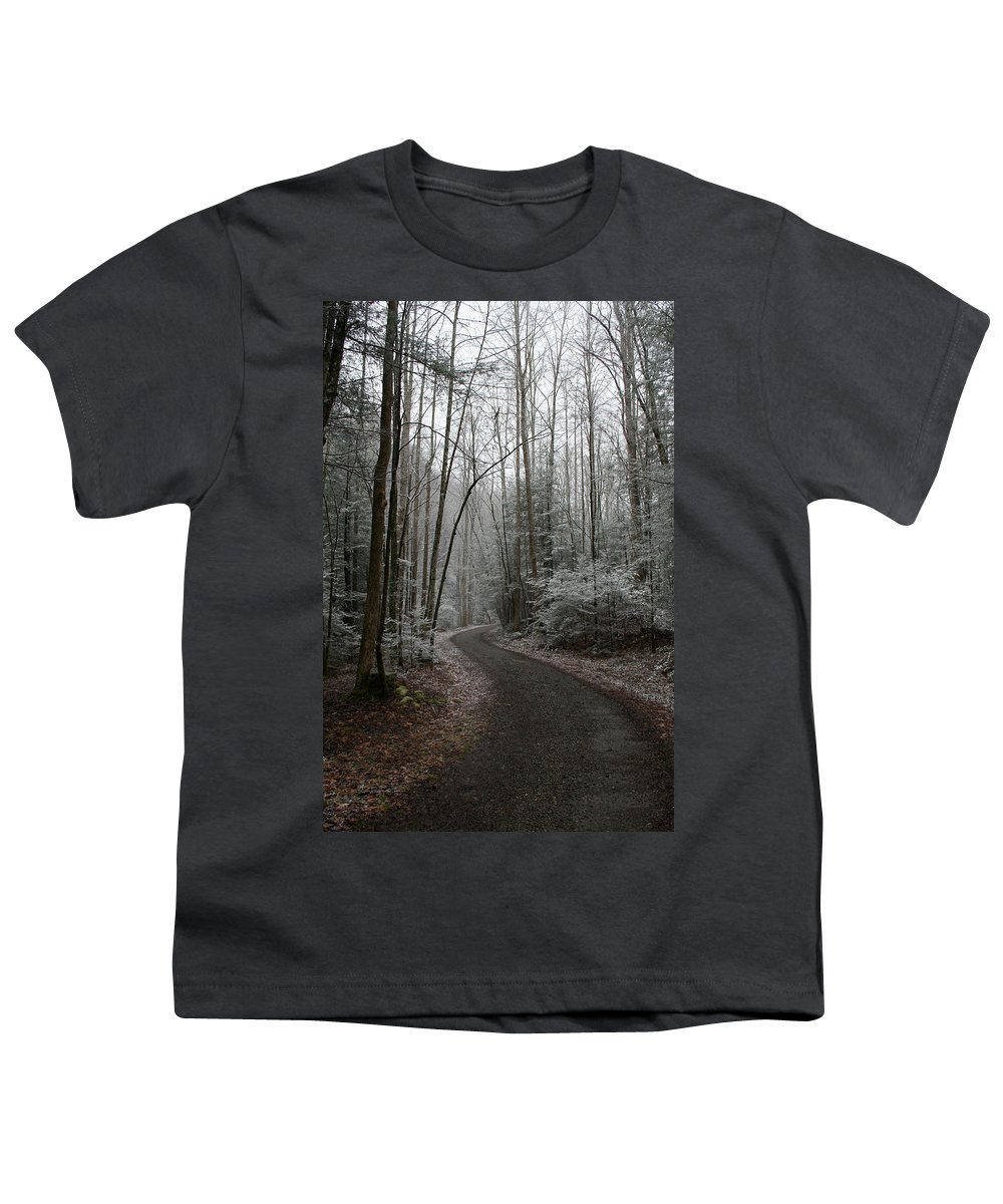 Nature Road Country Woods Forest Tree Trees Snow Winter Peaceful Quite Path White Forest Drive Youth T-Shirt featuring the photograph I Am The Way by Andrei Shliakhau