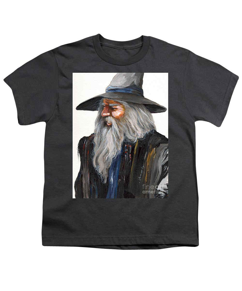 Fantasy Art Youth T-Shirt featuring the painting Impressionist Wizard by J W Baker